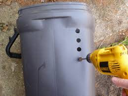 trash cans default: drill plenty of holes but dont compromise the structural integrity of the trash can avoid the corners to maintain the trash cans strength