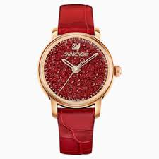 Crystalline Hours <b>Watch</b>, <b>Leather strap</b>, <b>Red</b>, Rose-gold tone PVD ...