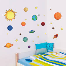 sun wall decal trendy designs: diy solar system cartoon wall stickers for baby room decor sun planet stars art decals
