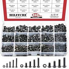 Hilitchi <b>460-Pcs</b> M3 M4 M5 Button Head Hex Socket Head Cap Bolts ...