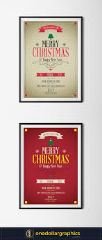 merry christmas happy new year flyer template psd