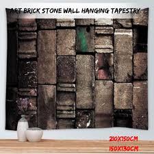 <b>Wall</b> Hanging Tapestry Retro Art 3D Brick <b>Stone Printed</b> Bedroom ...