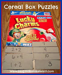 Elementary   Math   Use a cereal box to create a fun center activity with a self checking feature  Put an addition problem on one side and the answer on the     Pinterest