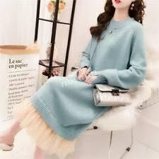 <b>Korean</b> Womens Loose <b>Sweater Dress</b> Knit Mesh Long Sleeve ...