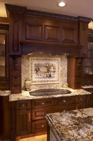 kitchen cabinets home office transitional:  kitchen backsplash ideas with dark cabinets