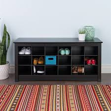 storage bench for living room: prepac furniture black indoor storage bench