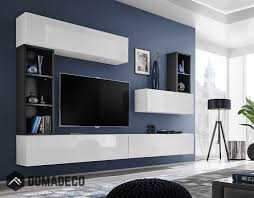 Boise I - black & white <b>tv wall unit</b> | Living room wall units, Tv wall ...