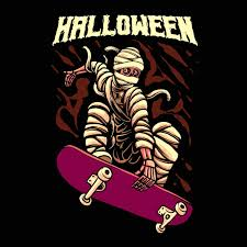 Premium Vector | Halloween <b>skateboarding mummy</b> illustration