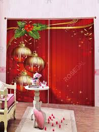 2 Panels <b>Christmas Balls Berry Print</b> Window Curtains in 2020 ...
