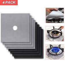 B 4Pcs/Set Reusable <b>Gas Stove Cooker Protectors</b> Cover/liner ...