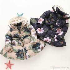 New Children <b>Floral Hooded</b> Coat Winter <b>Girls</b> Long Sleeve Plus ...