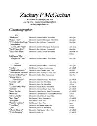 resume zack m cinematography