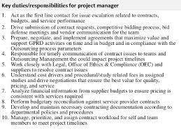 2 key dutiesresponsibilities for project manager contract manager job description