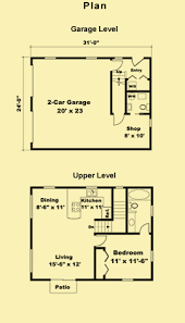 Garage Plans With Living Quarters  Guest House Plans  amp  Bedroom PlansFloor Plans   click to enlarge and view measurements