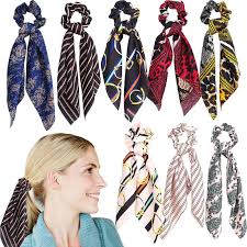 LY <b>Bohemian Women Faux Silk</b> Long Ribbon Bow Scarf Hair Band ...