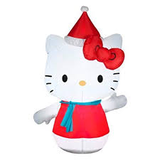 Inflatable 4.5ft Hello Kitty in Santa Hat and Blue Scarf Christmas ...