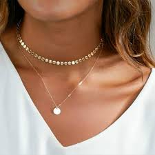2018 Summer <b>Simple Gold</b> Coin Layered <b>Choker Necklace</b> For ...