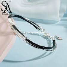 <b>SA SILVERAGE Real 925</b> Sterling Silver Leather Bangle Bracelet ...