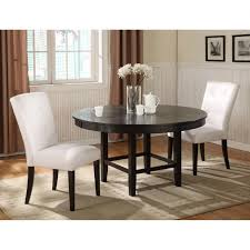 three piece dining set:   pieces dining sets in traditional theme with white parsons chair in white and rounded