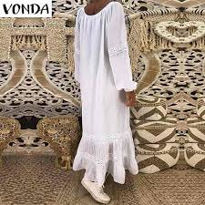 VONDA <b>Bohemian Women Maxi Dress</b> 2019 Autumn Casual V Neck ...