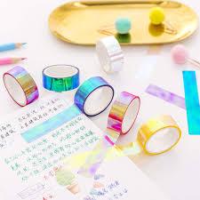 6pcs/Lot Set Glitter <b>Foil</b> Pastel <b>Washi</b> Tape Color Gilded <b>Rainbow</b> ...