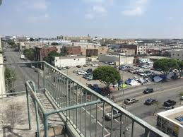 what s in your fridge room magazine this is the view from the fire escape at our downtown studio it is off of skid row so in the corner you can see the mission where the film the soloist
