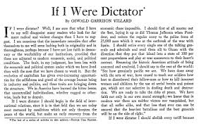 if i were dictator writers in the 30s plot for a better world essay by oswald garrison villard