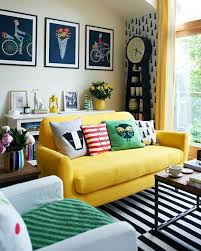 couch bedroom sofa:  prints and patterns around yellow couch
