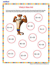 Vitaly's New Act – Printable Math Worksheet for 2nd Grade - JumpStartVitaly's New Act