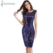 Plus size <b>blue striped</b> sequin dress <b>women sleeveless</b> tight casual ...