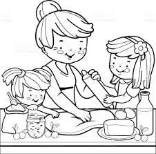 Small Picture Grandmother And Children Cooking In The Kitchen Coloring Book Page