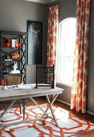 rustic home office with pops of orange design cristi holcombe interiors cheerful home office rug