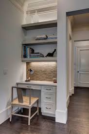 kitchen cabinets home office transitional: aesthetic shelves over desk decorating ideas in home office transitional design ideas with aesthetic beige tile