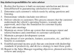 sales advisor job description      key duties responsibilities for  s advisor