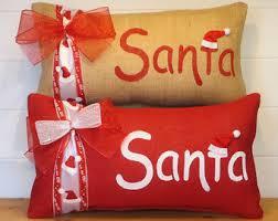 cabin decor lodge sled: burlap christmas pillows santa decor santa pillow christmas decor red christmas pillows cushions red christmas decorative throw pillows