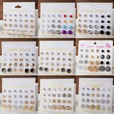 <b>12Pairs</b>/set Fashion Zircon Pearl Earrings Sets Women Girls <b>Punk</b> ...