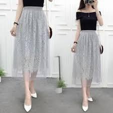 5 Layers Midi Tulle Skirts Womens Fashion TUTU Skirt <b>Elegant</b> ...