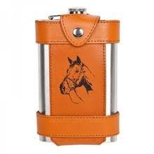 <b>Фляга походная в чехле</b> из натуральной кожи &quot;Лошадь&quot