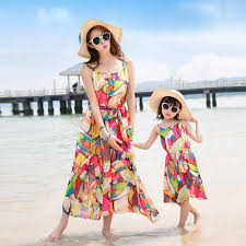 2019 Family Look <b>Mother Daughter Dresses</b> Summer <b>Bohemian</b> ...