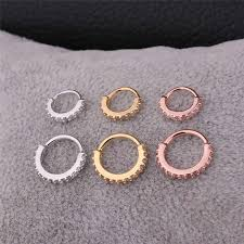 <b>BOAKO</b> 1PC <b>Silver</b> / <b>Gold</b> / Rose <b>Gold Color</b> CZ Hoop Nose Ring ...