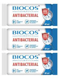 <b>Biocos влажные антибактериальные салфетки</b> 60 шт - 3 ...