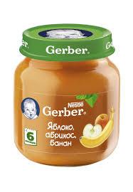 <b>Gerber</b> (130г) <b>фруктовое пюре</b> Яблоко,Абрикос,Банан гомог ...
