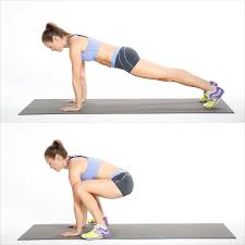 Image result for woman in and out plank jumps