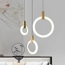 Minimalist <b>Modern LED Ring</b> Acrylic Diffuser Wood Pendant Light ...