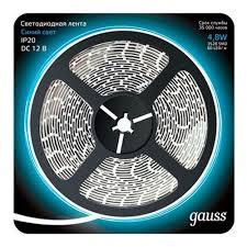 Светодиодная <b>лента</b> Gauss <b>LED 2835/60</b>-<b>SMD 4.8W</b> 12V DC ...