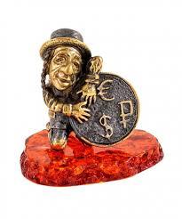 Еврейчик <b>Денежный</b> 2231 – фигурка-сувенир из <b>янтаря</b> и латуни ...