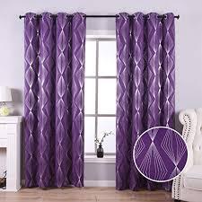 Anjee Blackout Curtains for <b>Living</b> Room with Foil <b>Print Diamond</b>