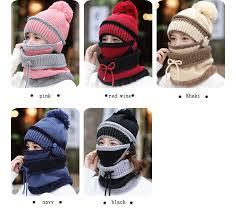 BINGYUANHAOXUAN <b>Women</b> Scarf Winter Sets Cap Mask Collar ...
