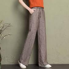 cotton linen <b>wide</b> leg pants <b>women 2019 summer</b> breathable thin ...