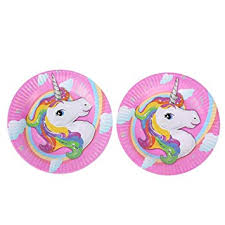Hippity Hop <b>Unicorn</b> Print Paper Round <b>Disposable Plates Party</b> ...